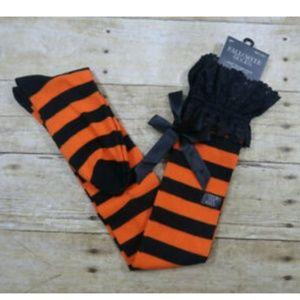 3/$25 **Halloween Socks Orange & Black Stripes
